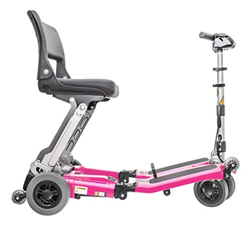 Best Buy! Luggie Standard Lightweight Folding Travel Scooter with 2-Year Extended Warranty (Pink)