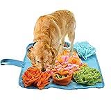 K-Park Alfombra para mascotas con diseño de flores, alfombrilla de alimentación para perros, cachorro de juego de mascotas, juego de alimentación, juguetes educativos interactivos para perros