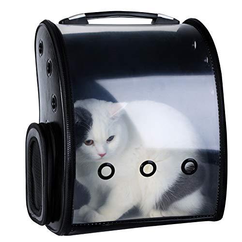 Bageek Katzenrucksack Haustier-Rucksack für Kleine Hunde Katzen Kaninchen Haustiertragetasche Reißverschluss, zum Öffnen, Faltbar, Wasserdicht zum Wandern, Reisen, Außenbereich (Schwarz)
