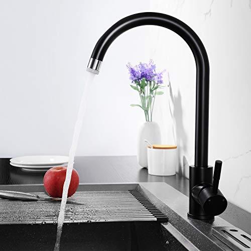 Lonheo Schwarz Wasserhahn Küche Armatur 360° Drehbar Einhebelmischer Spültischarmatur Hoher Auslauf mit 2 Strahlarten für jede Küche und Spüle geeignet