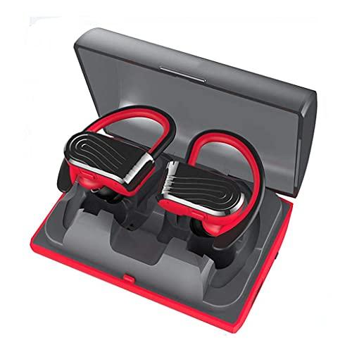 WPYYI Sweatproof binaural Auriculares estéreo Bluetooth Deportes, 2000 mAh de Carga Caja, Soporte de Carga del teléfono móvil de Emergencia, for Correr, Gimnasio (Color : Red)