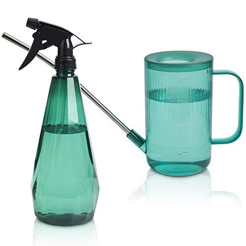 T4U 1 Liter Gießkanne mit Langer Auslauf + Sprühflasche, 2Pcs Pflanzen-Wassersprühflasche aus Kunststoff, Pflanzengießkanne mit Griff für Garten Zimmerpflanzen, Blumen (Grün)