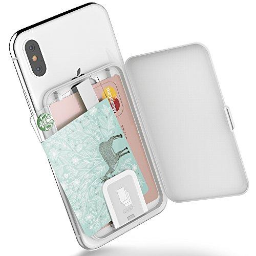 SINJIMORU Smartphone Kartenetui, Kartenhalter/Kartenfach fürs Handy/Kreditkartenetui/Visitenkartenetui/Smart Wallet/Handy Kartenhalter/Handy Geldbeutel. Sinji Card Zip, Weiß.