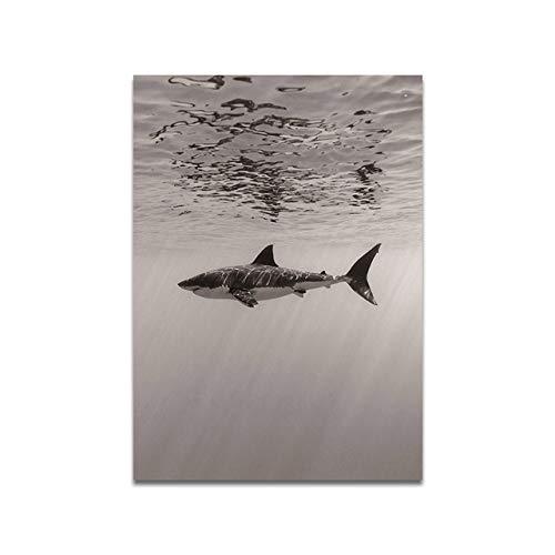 Geiqianjiumai Noordse dierlijke haai abstracte muurschildering woonkamer kunst foto decoratieve canvas schilderij frameless