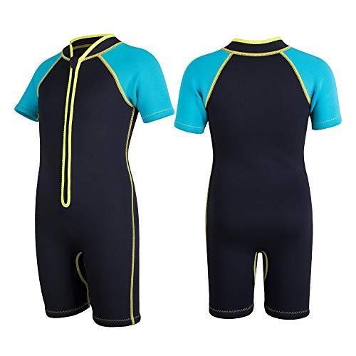 COPOZZ Shorty - Traje de neopreno para niños (manga corta, 2,5 mm, neopreno), Negro y azul., small