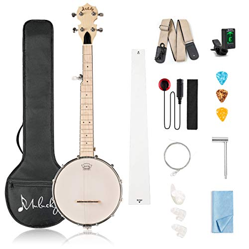 Mulucky 5 String Banjo Mini - 28 Inch Closed Solid Back Beginner Kit With Gig Bag Tuner Picks Strings Strap - B805
