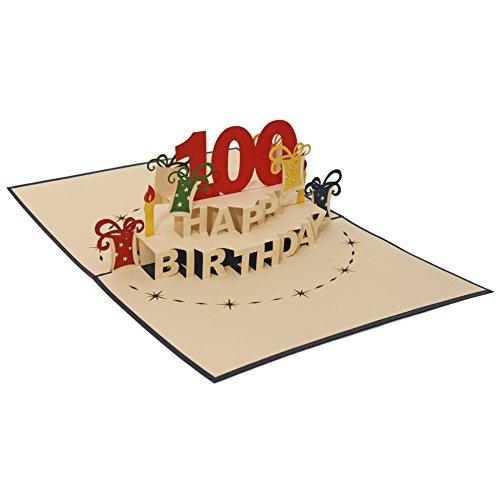Favour Pop Up Grusskarte zum 100. Geburtstag. Ein filigranes Kunstwerk, dass sich beim Öffnen des gestalteten blauen Umschlags entfaltet. TA100B