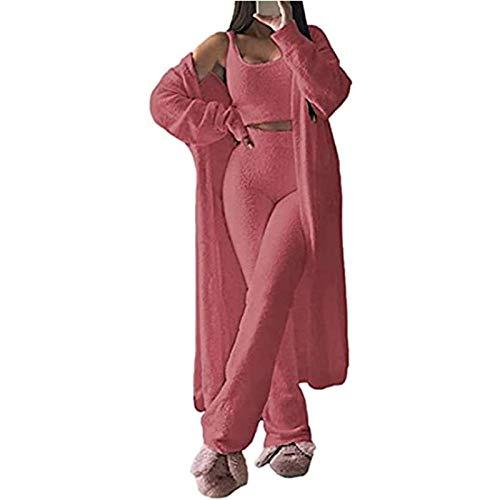 ZHENN Conjunto de Pijama Peludo de Mujer 3 Piezas, Cárdigan Delantero Abierto Suave Chándal de Lana con piernas Anchas Pantalones Trajes, Chaleco cálido y Sexy para Mujer Outwear,Pink 3pcs,S