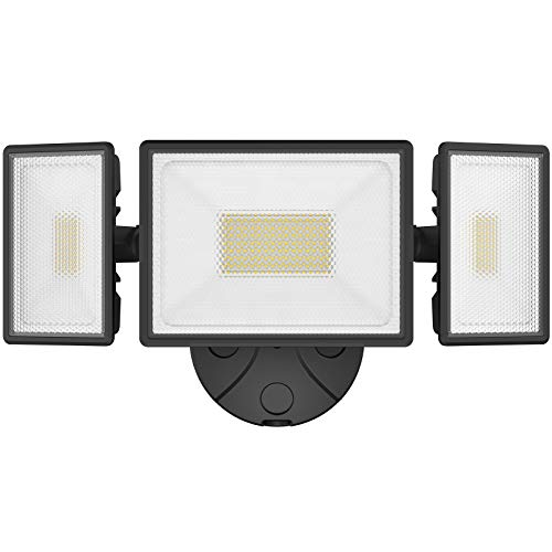 Onforu 80W LED Security Light, 7200LM Outdoor Flood Light with 3 Adjustable Heads, IP65 Waterproof LED Exterior Floodlight, 6000K White Wall Mount Security Light for Eave, Garden, Garage, Yard
