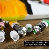 OfficeTree Acrylfarben Set 26 Tuben à 12 ml – Auf Wasserbasis – Acrylic Paint für Acrylmalerei – Für Papier, Leinwand, Holz, Stein UVM - 4