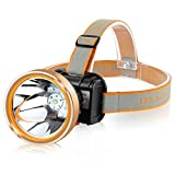 Hunting friends Smart LED Headlamp with 2 Light Modes Coon Hunting Lights Waterproof Headlight Built-in 2x18650 Rechargeable Batteries Adjustable Gold Head Troch (Yellow Light)