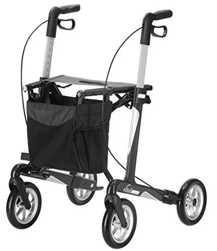 RUSSKA Rollator vital carbon plus Max. Belasbarkeit 150kg Leichtes Gewicht Softe Räder Inklusive Stockhalter und Tasche