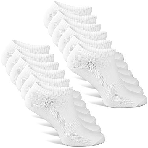Classics ® Herren & Damen Sneaker Socken (6x Paar) Lange Haltbarkeit Dank Bester Qualität (6x Weiß, 39 - 42)