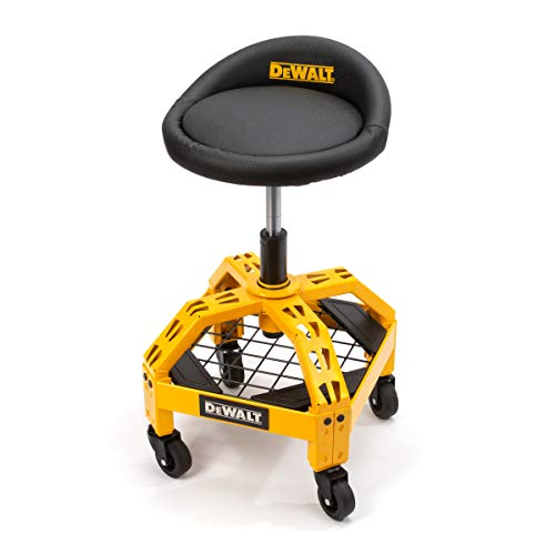 Dewalt Padded, Rolling Shop/Garage Stool, 360-degree Swivel Seat, Durable Steel Frame, Adjustable