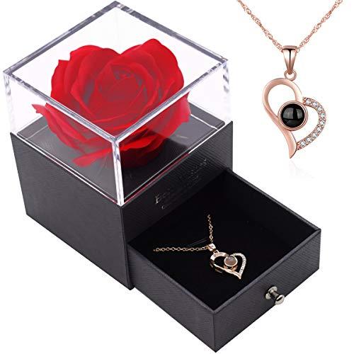 I Love You Ketting 100 Talen YUESEN Red Rose Gift Box Sieraden Doos Voor altijd Rose Nooit Verdorde Bloem Romantische Geschenken met Rode Rose Sieraden Opbergdoos voor Valentijnsdag Moederdag Verjaardag