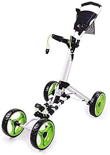 Carrito de golf para jóvenes Carrito de golf de 4 ruedas Carrito de golf plegable Carrito de empuje y tracción con freno de pie Carritos de golf ligeros Un segundo para abrir y cerrar Carrito plegable