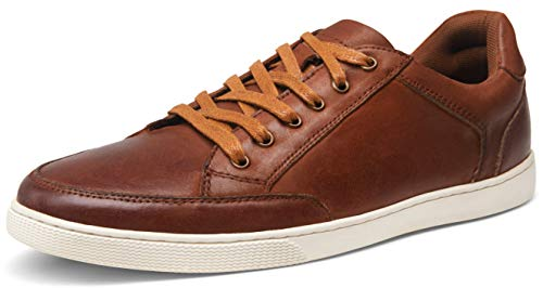 JOUSEN Valyrain Men's Sneakers Leather Casual Shoes Business Lace Up Casual Oxford Fashion Sneaker (AMY904 red Brown 11)