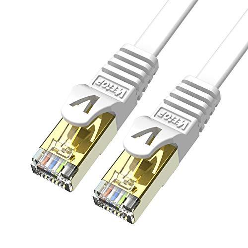 Veetop 5m x 2 Stück LAN Kabel Cat 7 Netzwerkkabel Patchkabel für 10 Gigabit Ethernet, Flexibel und Robust mit vergoldetem RJ45. Weiß