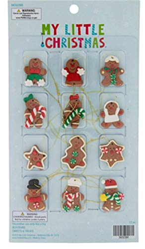 12 pc Mini Gingerbread Ornaments | Miniature Christmas Tree Ornaments | Gingerbread Cookie