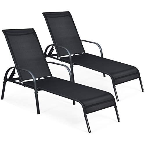 Giantex 2 Pcs Outdoor Chaise Lounge Chair, Adjustable Reclining Lounge Chairs Patio Furniture, Backyard Lawn Sling Chaise w/Adjustable Back, Folding Recliners for Beach Yard Pool (Black)