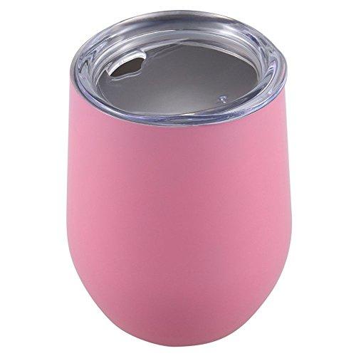 ACAMPTAR 12 OZ wijnglazen van roestvrij staal, vacuüm-geïsoleerd met deksel wijnglas van metaal zonder voet dubbelwandig voor buiten reizen, BPA-vrij (wit)