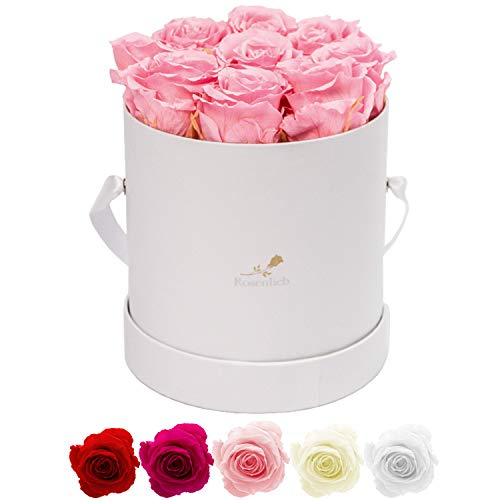 Rosenlieb Rosenbox mit 9 Infinity Rosen (3 Jahre haltbar) | Echte konservierte Blumen | Flowerbox Inklusive Grußkarte (Medi Bella Weiß, Rosa)