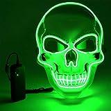 Vivibel Máscara LED para Halloween – Máscara LED de calavera de horror con 3 modos de flash, máscara LED que se ilumina en la noche, para fiestas, Halloween y Cosplay fiestas de carnaval