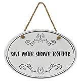 """'Save Water Shower Together' Ceramic Funny Bathroom Sign 