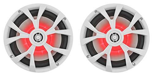 "Pair Rockville RKL80MW 8"" 900 Watt White 2-Way Marine Boat Speakers W/LED's"
