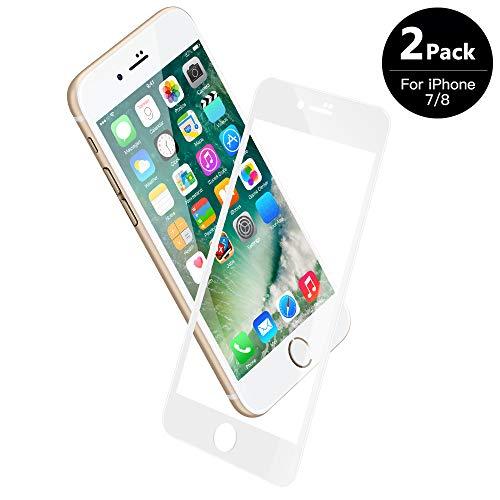 V VONTOX Vetro temperato Compatibile con iPhone 7/8[2 Pezzi], Pellicola Protettiva 3D Perfetto - Full Glass Protegge Il Display Completo - 9H Durezza, antiolio, Scratch e Bubble Free(Bianco)