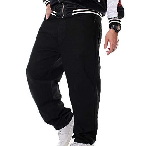Jeans Larghi Hip-Hop da Uomo Pantaloni Jeans Taglie Forti Pantaloni da Skateboard da Ballo di Strada 30-42