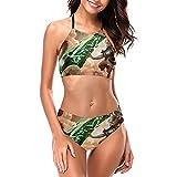 Riven - Conjunto de bikini halter para mujer con cuello alto, 2 piezas, acolchado