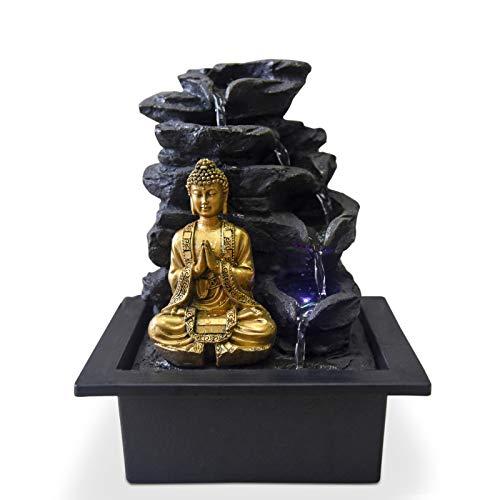 Zen'Light Shira Fontaine d'Intérieur avec Pompe et Eclairage LED, résine, Taille Unique