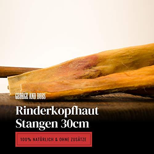 George & Bobs Rinderkopfhaut Stangen 30cm - 1000g | Rinderkopfhautstangen |Rinderkopfhaut | Made in Germany Langer Kauspaß