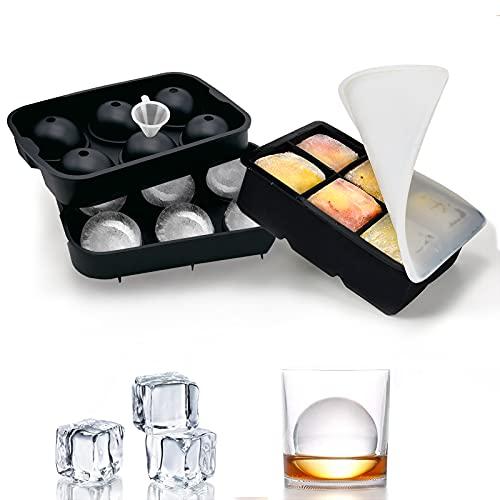 FiBiSonic Eiswürfelschale, Eisballform, 2 Stück Groß Silikon-Eiswürfelschale mit 6 Fächern, BPA-freie Würfel Eiswürfelform für Whisky, Cocktails, Saft, Schokolade, Süßigkeiten