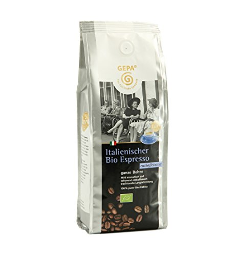 Gepa Bio Espresso Koffeinfrei (6 x 250 g) ganze Bohne. Fair Trade Kaffee
