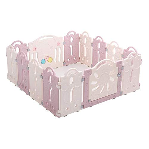 Great Price! Playpen Kids Baby Playpen with Activity Panels, Plastic Infant Fence Foldable Compact P...