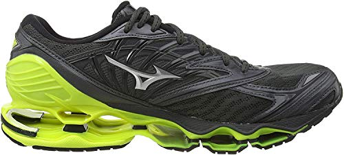 Mizuno Wave Prophecy 8, Zapatillas de Running para Hombre, Negro Dark Shadow/Silver/Safety Yellow 05, 42.5 EU
