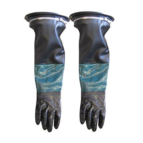Tenlacum 1 Paar 60 cm PVC-Handschuhe mit Halter Sandstrahlhandschuhe Schutzhandschuhe