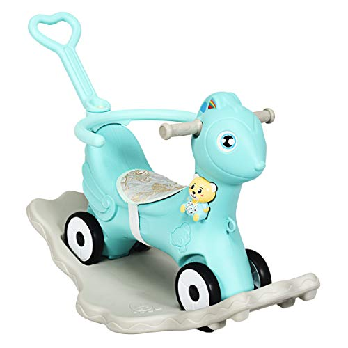 COSTWAY 3 in 1 Baby Rocking Horse, Kids Ride on Toy with Music, Safety Bar, Parental Handle and Cushion, Toddler Balance Bike Sliding Toys for 1–5 Year Old (Green)