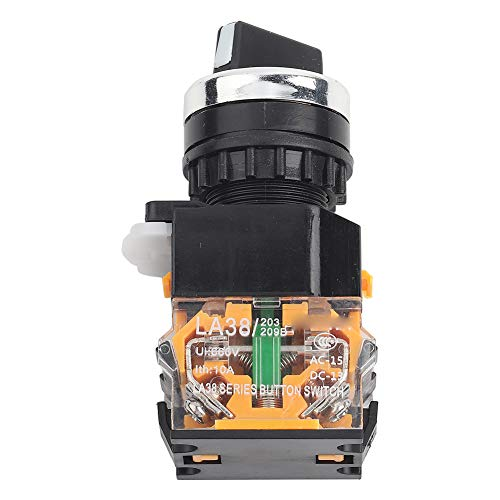 Selector giratorio de interruptor, 3 posiciones 2NO Interruptor selector de selección mantenido Interruptor giratorio LA38-20X3