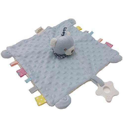 Manta de Seguridad para bebés, Felpa Peluche Lindo Animal Campana incorporada, recién Nacido Puntos Suaves hoyuelos Comodidad taggy Manta, calmante para bebés Regalo para Dormir (Oso Azul)