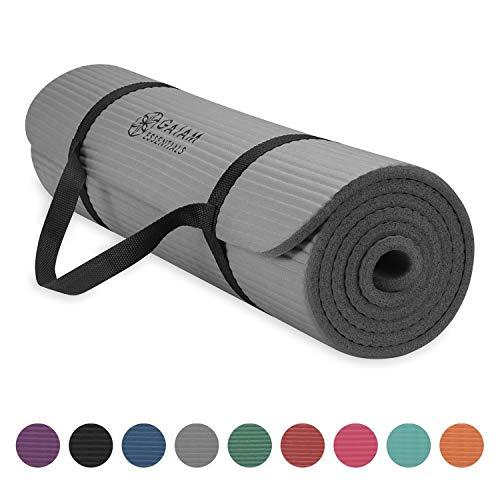 Gaiam Essentials - Esterilla de yoga gruesa con correa de transporte para esterilla de yoga (72 pulgadas de largo x 24 pulgadas de ancho x 2/5 pulgadas de grosor) - 05-63321, 10mm, gris
