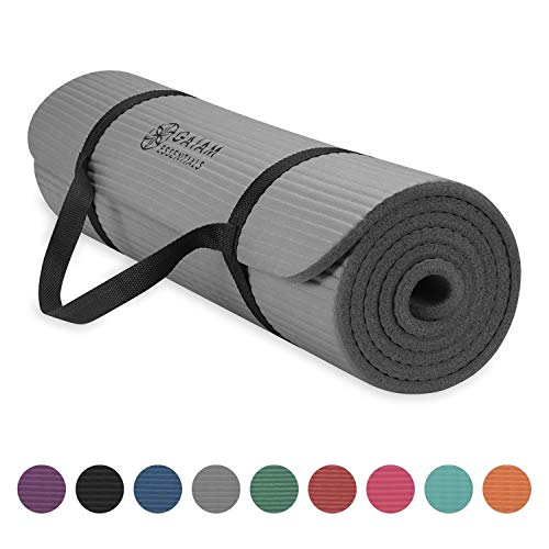 Gaiam Essentials Thick Yoga Mat Fitness & Exercise Mat With Easy-Cinch Yoga Mat Carrier Strap, Grey, 72 InchL X 24 InchW X 2/5 Inch Thick
