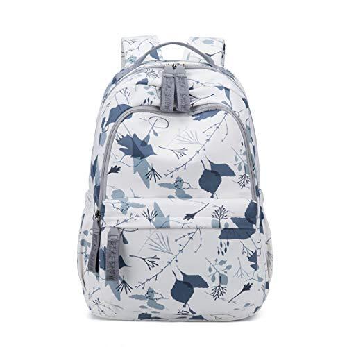 Stickbänder Wasserdichter großer Rucksack Frauen Obst und Blumendruck Rucksack Laptop Schultasche für Teenager Gray 30CMx15CMx45CM