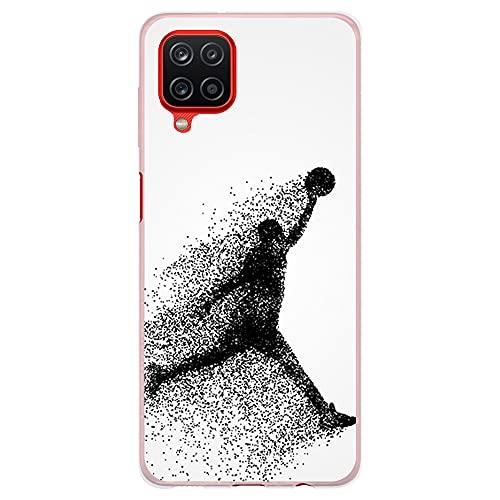 Funda Transparente para [ Samsung Galaxy A12 5G ], Carcasa de Silicona Flexible TPU, diseño : Jugador de Baloncesto Abstracto Saltando