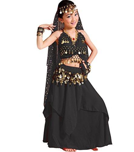 Astage Niña Traje Vestido Danza Vientre Halloween Falda Camiseta Halter Disfraz Negro XS