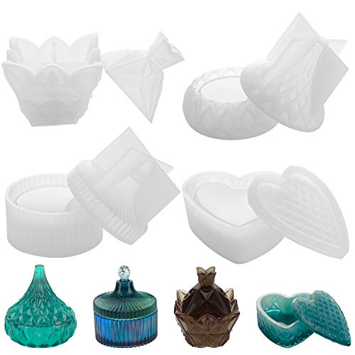 4PCS Box Resin Molds, Gartful Silicone Jewelry Box Molds with Pyramid Trinket Epoxy Mold, Heart Organizer Mold, Round Jewelry Storage Holder and Drop Container Mold for DIY Art Casting, Candy Jar
