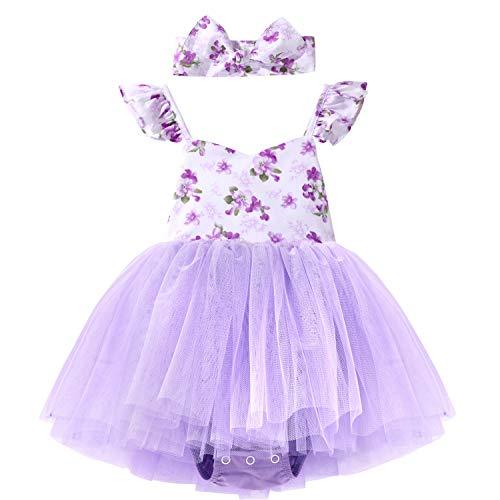 Flofallzique Floral Toddler Sundress Ruffle Sleeves Baby Birthday Tutu One-Piece Purple (0,Lavender)