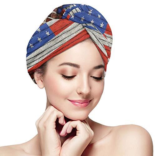 Toalla de pelo pared bandera americana toalla de microfibra para la ducha de pelo Toallas de secado rápido abrigo para el pelo corto mujeres turbante